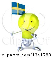 Clipart Of A 3d Happy Yellow Light Bulb Character Holding And Pointing To A Swedish Flag Royalty Free Illustration