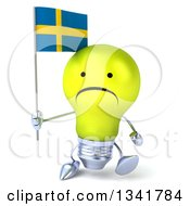 Clipart Of A 3d Unhappy Yellow Light Bulb Character Holding A Swedish Flag And Walking Royalty Free Illustration
