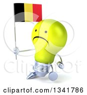 Clipart Of A 3d Unhappy Yellow Light Bulb Character Holding A Belgian Flag And Walking Slightly To The Left Royalty Free Illustration