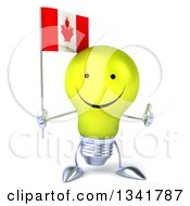 Clipart Of A 3d Happy Yellow Light Bulb Character Holding A Canadian Flag And Giving A Thumb Up Royalty Free Illustration