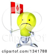 Clipart Of A 3d Unhappy Yellow Light Bulb Character Holding And Pointing To A Canadian Flag Royalty Free Illustration