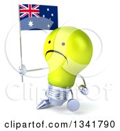 Clipart Of A 3d Unhappy Yellow Light Bulb Character Holding An Australian Flag And Walking Slightly To The Left Royalty Free Illustration
