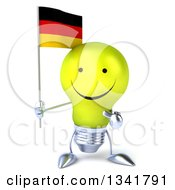 Clipart Of A 3d Happy Yellow Light Bulb Character Holding And Pointing To A German Flag Royalty Free Illustration