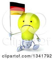 Clipart Of A 3d Unhappy Yellow Light Bulb Character Holding German Flag And Walking Royalty Free Illustration