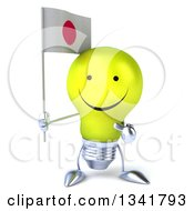 Clipart Of A 3d Happy Yellow Light Bulb Character Holding And Pointing To A Japanese Flag Royalty Free Illustration