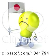 Clipart Of A 3d Unhappy Yellow Light Bulb Character Holding A Japanese Flag And Walking Slightly To The Left Royalty Free Illustration