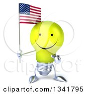 Clipart Of A 3d Happy Yellow Light Bulb Character Holding And Pointing To An American Flag Royalty Free Illustration
