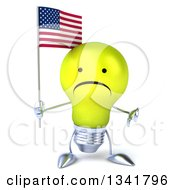 Clipart Of A 3d Unhappy Yellow Light Bulb Character Giving A Thumb Down And Holding An American Flag Royalty Free Illustration