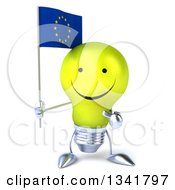 Clipart Of A 3d Happy Yellow Light Bulb Character Holding And Pointing To A European Flag Royalty Free Illustration