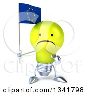 Clipart Of A 3d Unhappy Yellow Light Bulb Character Holding And Pointing To A European Flag Royalty Free Illustration