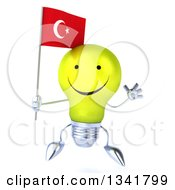 Clipart Of A 3d Happy Yellow Light Bulb Character Holding A Turkish Flag And Jumping Royalty Free Illustration