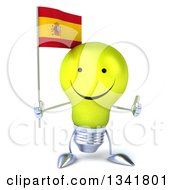 Clipart Of A 3d Happy Yellow Light Bulb Character Holding A Spanish Flag And Giving A Thumb Up Royalty Free Illustration
