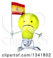 Clipart Of A 3d Unhappy Yellow Light Bulb Character Holding A Spanish Flag And Giving A Thumb Down Royalty Free Illustration