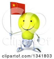 Clipart Of A 3d Happy Yellow Light Bulb Character Holding A Chinese Flag Royalty Free Illustration