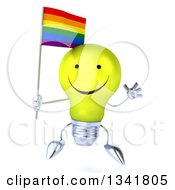 Clipart Of A 3d Happy Yellow Light Bulb Character Holding A Rainbow Flag And Jumping Royalty Free Illustration