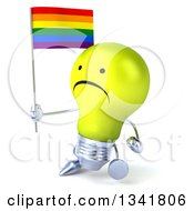 Clipart Of A 3d Unhappy Yellow Light Bulb Character Holding A Rainbow Flag And Walking Slightly To The Left Royalty Free Illustration