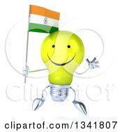 Clipart Of A 3d Happy Yellow Light Bulb Character Holding An Indian Flag And Jumping Royalty Free Illustration