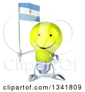 Clipart Of A 3d Happy Yellow Light Bulb Character Holding And Pointing To An Argentine Flag Royalty Free Illustration