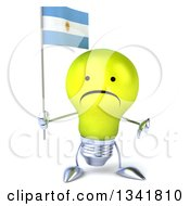 Clipart Of A 3d Unhappy Yellow Light Bulb Character Holding An Argentine Flag And Giving A Thumb Down Royalty Free Illustration