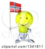Clipart Of A 3d Happy Yellow Light Bulb Character Holding And Pointing To A Norwegian Flag Royalty Free Illustration