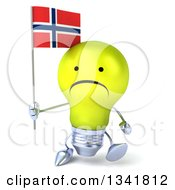 Clipart Of A 3d Unhappy Yellow Light Bulb Character Holding A Norwegian Flag And Walking Royalty Free Illustration