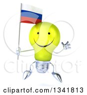 Clipart Of A 3d Happy Yellow Light Bulb Character Holding A Russian Flag And Jumping Royalty Free Illustration