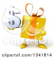 Clipart Of A 3d Happy Yellow Gift Character Holding And Pointing To A Dollar Symbol Royalty Free Illustration by Julos