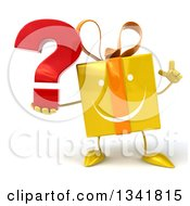 Clipart Of A 3d Happy Yellow Gift Character Holding Up A Finger And A Question Mark Royalty Free Illustration by Julos