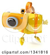 Clipart Of A 3d Happy Yellow Gift Character Holding A Camera Facing Slightly Right And Jumping Royalty Free Illustration by Julos