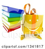 Clipart Of A 3d Happy Yellow Gift Character Holding Up A Stack Of Books Royalty Free Illustration by Julos