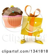 Clipart Of A 3d Happy Yellow Gift Character Holding And Pointing To A Chocolate Frosted Cupcake Royalty Free Illustration by Julos