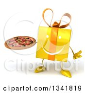 Clipart Of A 3d Happy Yellow Gift Character Shrugging And Holding A Pizza Royalty Free Illustration by Julos