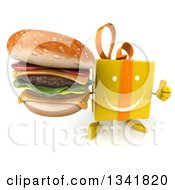 Clipart Of A 3d Happy Yellow Gift Character Holding Up A Thumb And A Double Cheeseburger Royalty Free Illustration by Julos