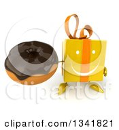 Clipart Of A 3d Happy Yellow Gift Character Holding Up A Chocolate Glazed Donut Royalty Free Illustration by Julos