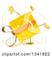 Clipart Of A 3d Yellow Gift Character Cartwheeling Royalty Free Illustration by Julos