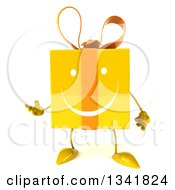 Clipart Of A 3d Yellow Gift Character Presenting 2 Royalty Free Illustration by Julos