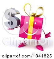Clipart Of A 3d Happy Pink Gift Character Shrugging And Holding A Dollar Symbol Royalty Free Illustration