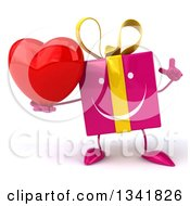 Clipart Of A 3d Pink Gift Character Holding Up A Finger And A Love Heart Royalty Free Illustration