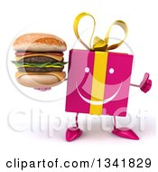 Clipart Of A 3d Happy Pink Gift Character Giving A Thumb Up And Holding A Double Cheeseburger Royalty Free Illustration