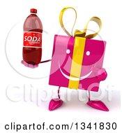 Clipart Of A 3d Happy Pink Gift Character Holding And Pointing To A Soda Bottle Royalty Free Illustration
