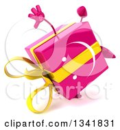 Clipart Of A 3d Pink Gift Character Cartwheeling Facing Slightly Right Royalty Free Illustration