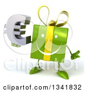 Clipart Of A 3d Happy Green Gift Character Shrugging And Holding A Euro Symbol Royalty Free Illustration