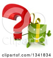 Clipart Of A 3d Happy Green Gift Character Holding Up A Thumb And A Question Mark Royalty Free Illustration