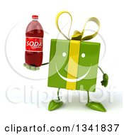 Clipart Of A 3d Happy Green Gift Character Holding A Soda Bottle Royalty Free Illustration