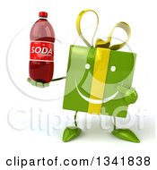 Clipart Of A 3d Happy Green Gift Character Holding And Pointing To A Soda Bottle Royalty Free Illustration