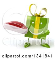 Clipart Of A 3d Happy Green Gift Character Holding And Pointing To A Beef Steak Royalty Free Illustration by Julos