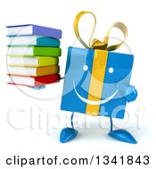 Clipart Of A 3d Happy Blue Gift Character Holding And Pointing To A Stack Of Books Royalty Free Illustration by Julos