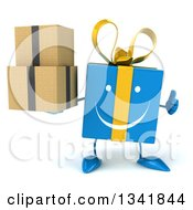 Clipart Of A 3d Happy Blue Gift Character Holding Boxes And Giving A Thumb Up Royalty Free Illustration by Julos
