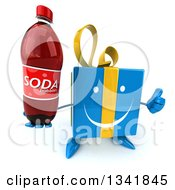 Clipart Of A 3d Happy Blue Gift Character Holding Up A Thumb And A Soda Bottle Royalty Free Illustration by Julos