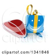 Clipart Of A 3d Happy Blue Gift Character Holding Up A Beef Steak Royalty Free Illustration by Julos